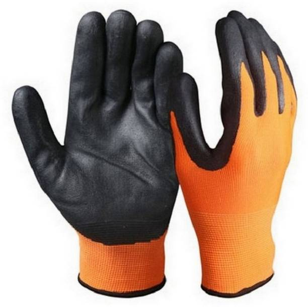 RBGIIT Cut Restitance Cheamical Water Heat Electric Shoot Proof Non Cutting Rubber Safety Gloves In Contruction Steel Wooden Labour Motor Bike Reparing Packing Worker Safety Hand Gloves AS435 Nylon  Safety Gloves