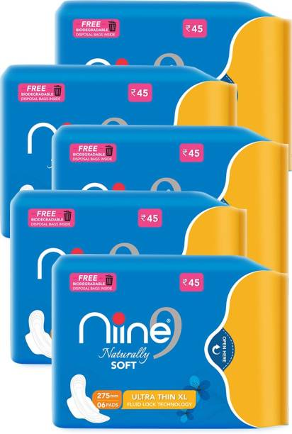niine Naturally Soft Ultra Thin XL Sanitary Pads with Biodegradable Disposal Bags Inside (Pack of 5), 30 Pads Count Sanitary Pad