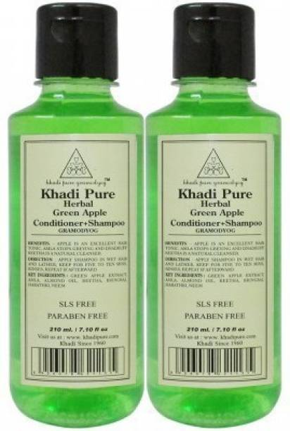 Khadi Pure Herbal Green Apple Shampoo+Conditioner 210 ML Pack of 2