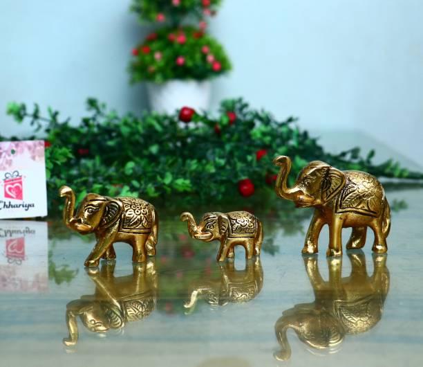 Chhariya Crafts Set of 3 gold Elephant Idol & Showpiece For Home Decor And Gift Decorative Showpiece  -  6 cm