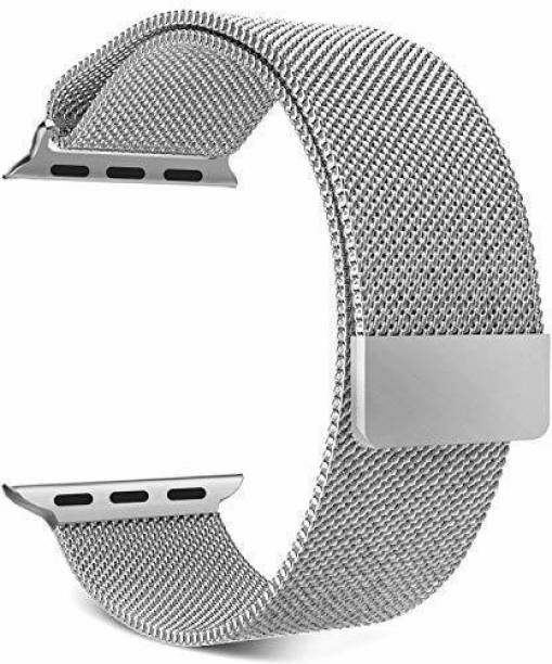 DAEMON Magnetic Lock Stainless Steel Milanese Strap Band (44mm,42mm Silver) Smart Watch Strap