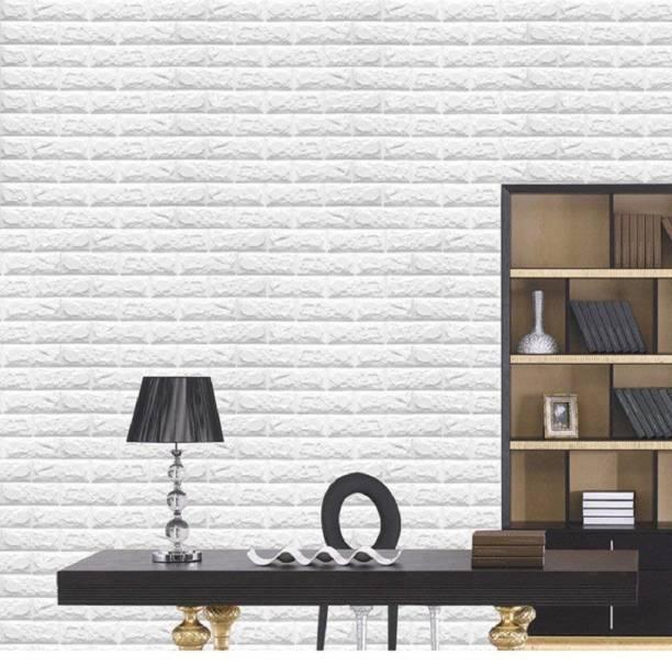 SkyWalls Large Self Adhesive 3D Brick Wallpaper (White)