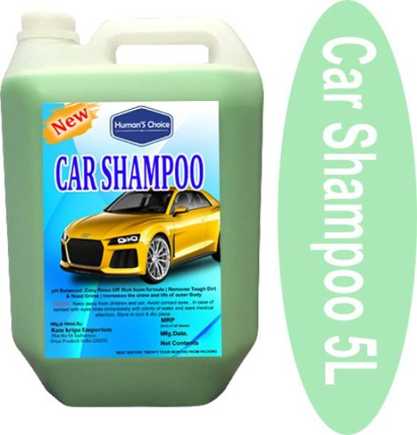 Humans choice Premium Car Shampoo (5Ltrs) PH Neutral Formula, Thick Highly Concentrated Liquid Cleans Dirt, Grime and Leaves a Brilliant Shine, for Bucket, Foam & Snow Foam Wash. Car Washing Liquid