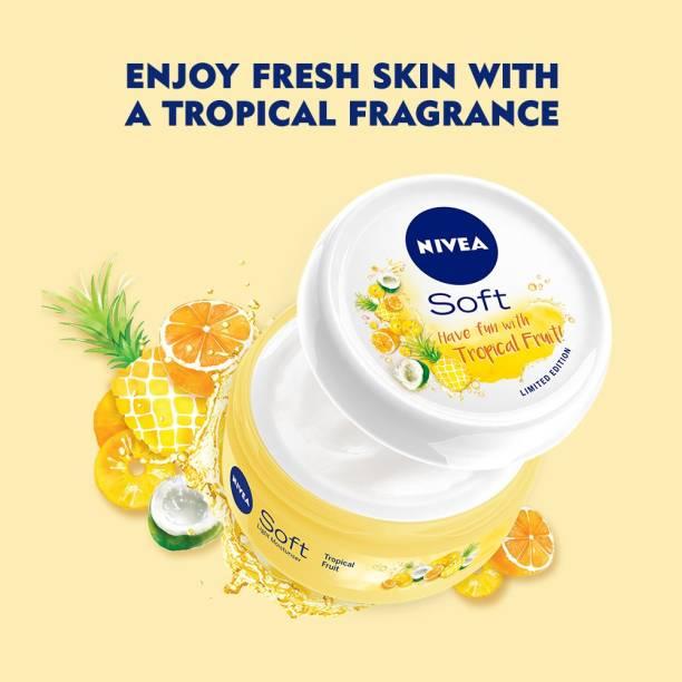 NIVEA Soft Light Moisturizing Cream, Tropical Fruit Fragrance, with Vitamin E & Jojoba Oil(Face & Body Cream)