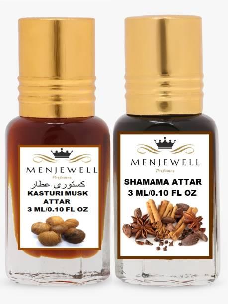 Menjewell Pack of 2PC Attar (Kasturi musk 3ml,Shamama 3ml)Natural Itra/Attar/ Perfume Floral Attar