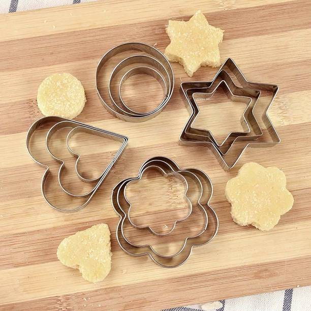 lukzer 12PC Cookie Cutter Stainless Steel with 4 Shapes Heart, Round, Star & Flower Biscuit Shaper Mould (3 Sizes) Cookie Cutter