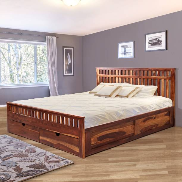 EVOK Beatrice Solid Wood King Drawer Bed
