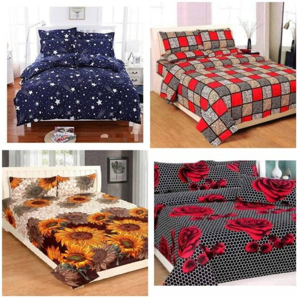CRAFTWELL 144 TC Microfiber Double Floral Bedsheet