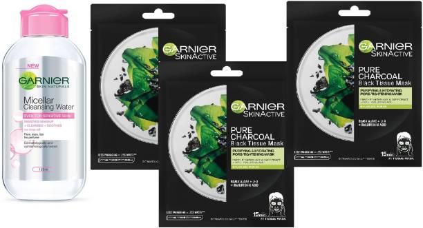 GARNIER Skin Naturals 1 Micellar Cleansing Water 125ml & 3 Pure Charcoal Sheet Mask Each 30g