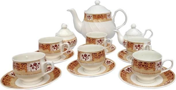 UPC Ceramic UPC Fine Bone China Ceramics Tea Set With Kettle, Cup, Soucer, Sugar Pot, Milk Pot - Premium Quality & Finish