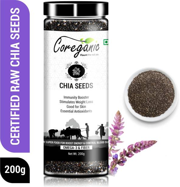 Coreganic Organic Raw Chia Seeds for Weight Loss ,High in Calcium