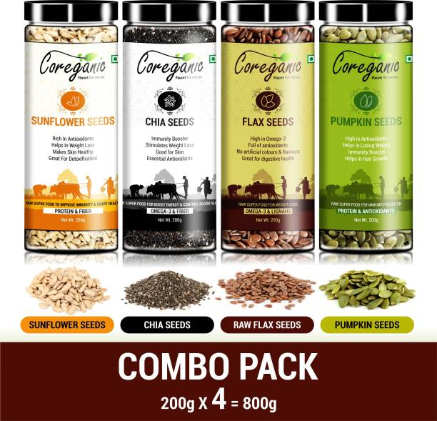 Coreganic Certified Combo Seeds Value Pack (FLax Seed,Chia Seed,Pumpkin Seed & Sunflower Seed)