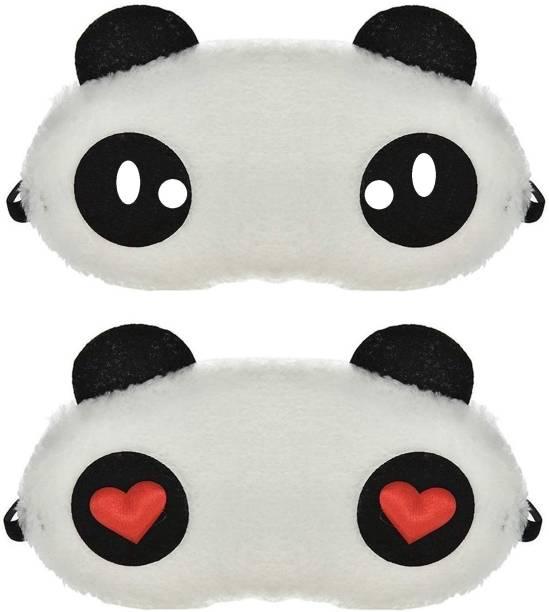 Nitsha Panda Eye Mask Slip Night Sleep Eye White And Black Super Soft & Smooth Travel Masks for Men Women Girls Boys Kids (Panda) Pack of 2