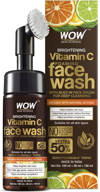 WOW SKIN SCIENCE Brightening Vitamin C Foaming  with Built-In Face Brush for deep cleansing - No Parabens, Sulphate, Silicones & Color - 150 ml Face Wash