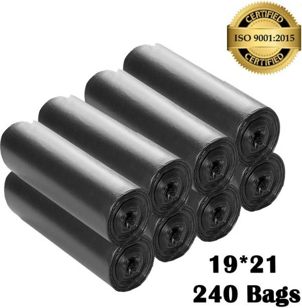 NAALKO Black Biodegradable 19x21 pack of 8 (240 Bags) Medium 18 L Garbage Bag (240 Bags) Medium 18 L Garbage Bag