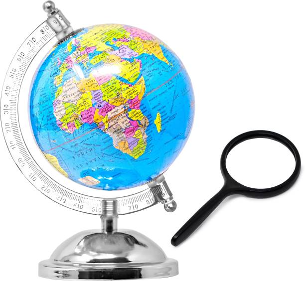 Zest 4 Toyz Globe for Kids, STEM STEAM Educational World Globe with 75mm Magnifying Glass for Kids/Office Globe/Political Globe/Globes for Students (X Small) Desk & Table Top Poltical World Globe