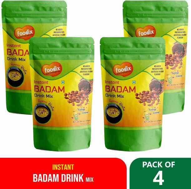 Foodix A Premium superfood instant badam drink mix powder made with the highest quality ingredients Natural Blend of Premium Nuts (100gx4)