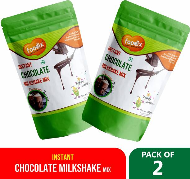 Foodix Instant Chocolate Milkshake powder drink with both hot and cold milk 100X2