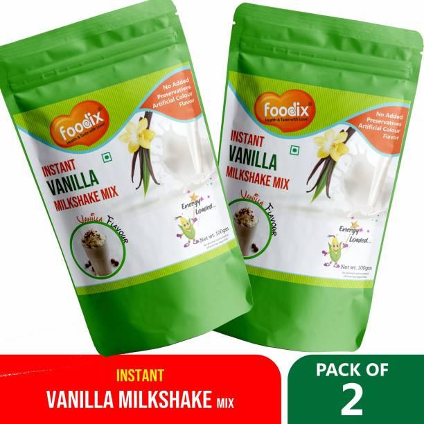 Foodix Instant Vanilla Milkshake powder drink with both hot and cold milk 100X2