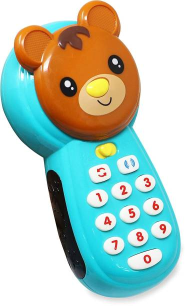 TEMSON Baby learning mobile phone with led screen music telephone cartoon phone, bright colors, multiple sounds toy for kids (Bear)