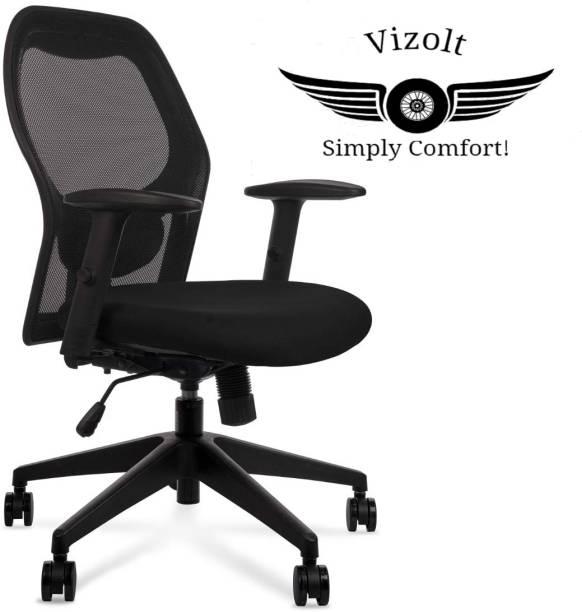 VIZOLT Natural Fiber Office Adjustable Arm Chair