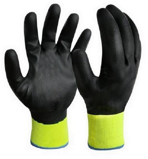 RBGIIT Cut Restitance Cheamical Water Heat Electric Shoot Proof Non Cutting Rubber Safety Gloves In Contruction Steel Wooden Labour Motor Bike Reparing Packing Worker Safety Hand Gloves AS213 Nylon  Safety Gloves