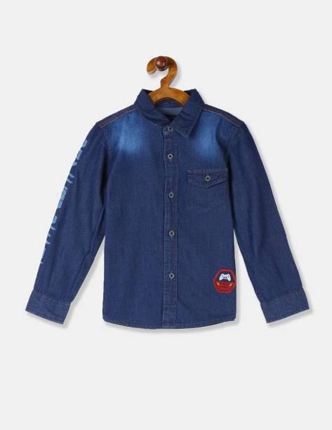 CHEROKEE Boys Washed Casual Blue Shirt