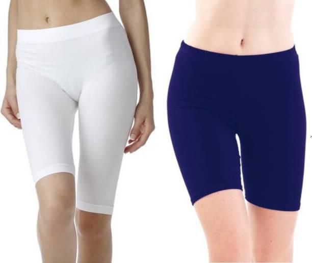 Apraa & Parma Solid Women White, Blue Swim Shorts, Running Shorts, Cycling Shorts, Night Shorts, Gym Shorts