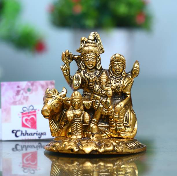 Chhariya Crafts Metal Shiv Parivar / Shiv Parvati With Ganesh And Kartik Decorative Showpiece  -  10 cm