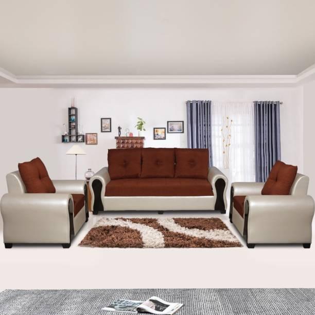 ELTOP Lifestyle Nano Fabric 3 + 1 + 1 Orange Sofa Set