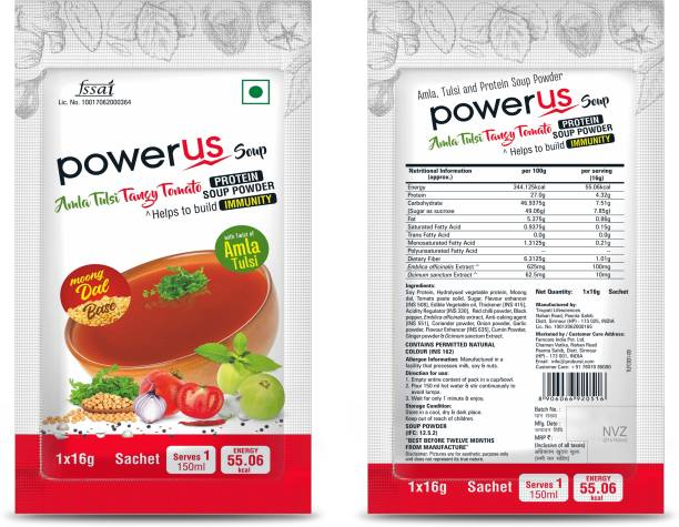 Powerus Protein Instant Soup with combination of Moong Dal, Amla, Tulsi & Tangy Tomato - (10 Sachets X 16gm)
