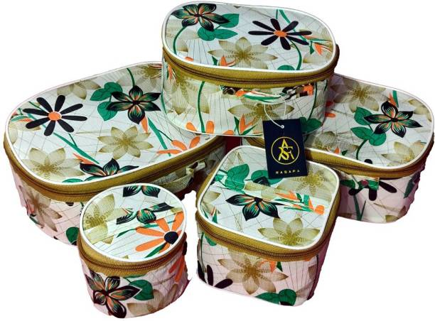 Rasafa Pack of 5 Fashionable High quality Storage Case, Bangle Box, Spacious Interior, Cosmetic Box Vanity Box