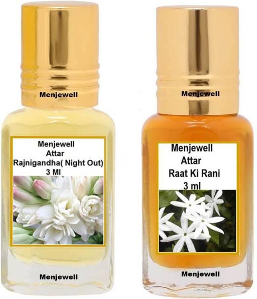Menjewell Pack of 2PC Attar (Rat ki Rani 3ml,Rajnigandha 3ml)Natural Itra/Attar/ Perfume Floral Attar
