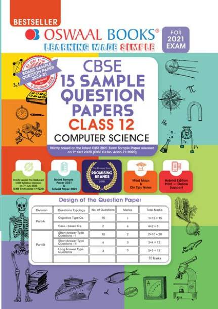 Oswaal Cbse Sample Question Papers Class 12 Computer Science (Reduced Syllabus for 2021 Exam)