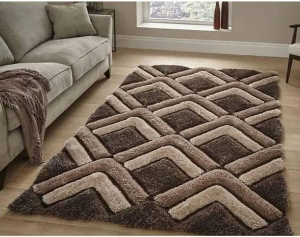 RM Handloom Brown Polyester Carpet