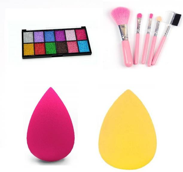 Love Nature 12 Ultra Pigmented Glitter Eyeshadow with Me Now 5 Pcs Makeup Brush & 2 Sponge Puff