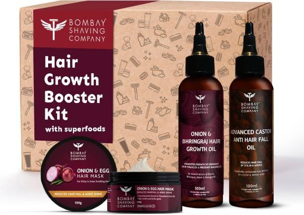 BOMBAY SHAVING COMPANY Hair Growth Booster Kit with Onion & Castor Hair Oil and Hair Mask   Reduce Hairfall, Boost Hair Growth & Get Stronger Shinier Hair