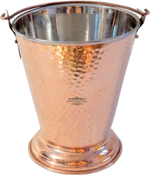 Indian Craft Villa Handmade Traditional Copper Steel Bucket Volume 300 ML for a Vegetable Dish serving Restaurant Ware Hotel Ware Home Gift Item Gravy Bucket Serving Set