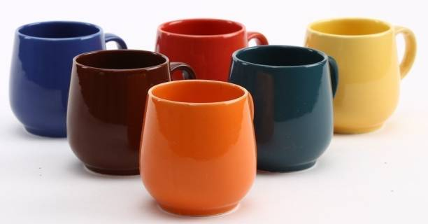 Jrp Mart Pack of 6 Ceramic Multicolor Tea Coffee Cups/ Mugs-Set of 6 (Microwave safe)