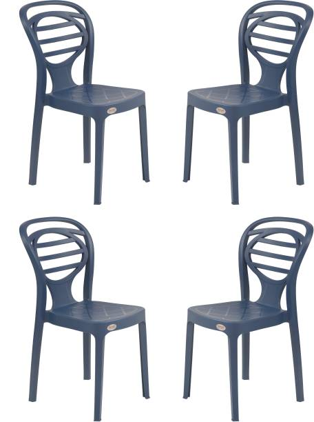 Supreme Supreme Oak Armless Plastic Chair for Home, Office and Dining Table (4 pcs, Navy Blue) Plastic Dining Chair