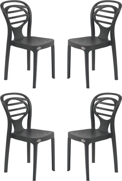 Supreme Supreme Oak Armless Plastic Chair for Home, Office and Dining Table (4 pcs, Charcoal Grey) Plastic Dining Chair