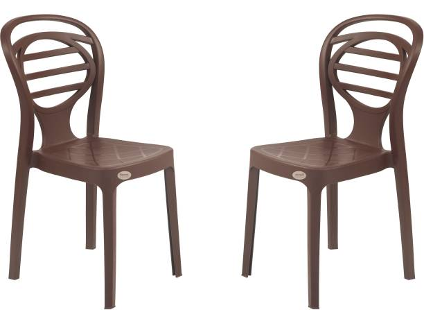 Supreme Supreme Oak Armless Plastic Chair for Home, Office and Dining Table (2 pcs , Globus Brown) Plastic Dining Chair