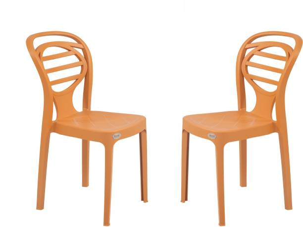 Supreme Supreme Oak Armless Plastic Chair for Home, Office and Dining Table (2 pcs , amber gold) Plastic Dining Chair