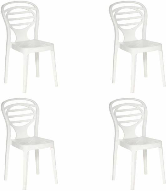Supreme Supreme Oak Armless Plastic Chair for Home, Office and Dining Table (4 pcs, Milky White) Plastic Dining Chair