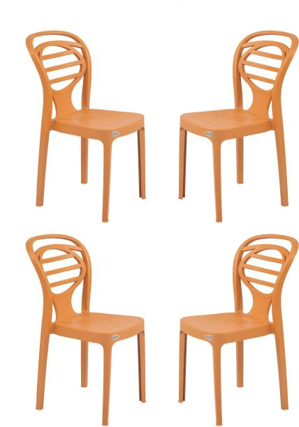Supreme Supreme Oak Armless Plastic Chair for Home, Office and Dining Table (4 pcs, Amber Gold) Plastic Dining Chair