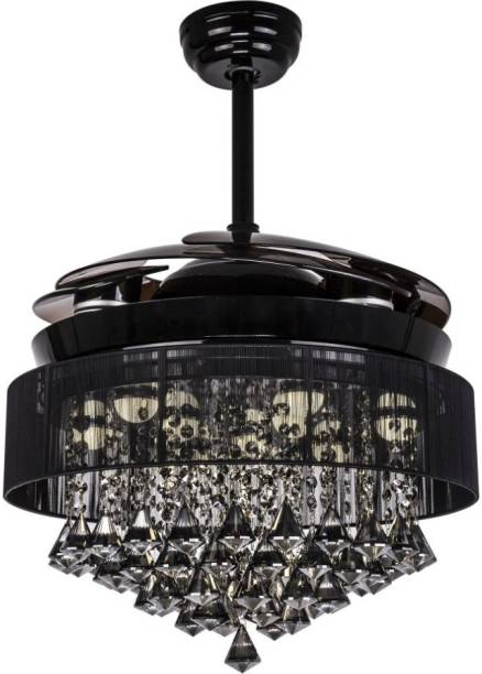 oltao Kingbird Chandelier with Noiseless Retractable, LED Light And Remote 1200 mm 4 Blade Ceiling Fan
