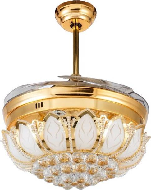 oltao Goldfinch Ceiling Fan with Light, Luxury Modern Fan with Remote Noiseless Retractable blade Chandelier Fan with Anti dust blades 1067 mm Remote Controlled 4 Blade Ceiling Fan