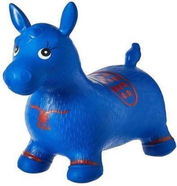 Tricolor Tri color Jumping & Bouncer Riding Horse Animal Toy for kids Inflatable Bouncer Inflatable Hoppers & Bouncer (Blue) Inflatable Inflatable Toy Pump (Blue) Inflatable Hoppers & Bouncer
