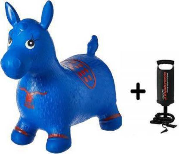 Tricolor Tri color Inflatable Jumping and Riding Horse Bouncing Horse Hopper Animal Toy for Kids with Double Quick II Hand Air Pump (Blue) Outdoor toy Inflatable Hoppers & Bouncer (Blue) Inflatable Hoppers & Bouncer