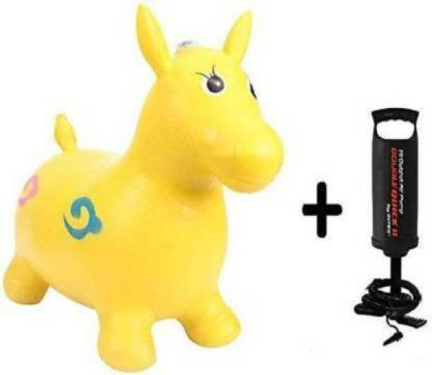 Tricolor Tri color Jumping and Riding Horse Bouncing Horse Hopper Animal Toy for Kids with Double Quick II Hand Air Pump (Yellow) Outdoor toy Inflatable Hoppers & Bouncer (Yellow, Black) Inflatable Hoppers & Bouncer